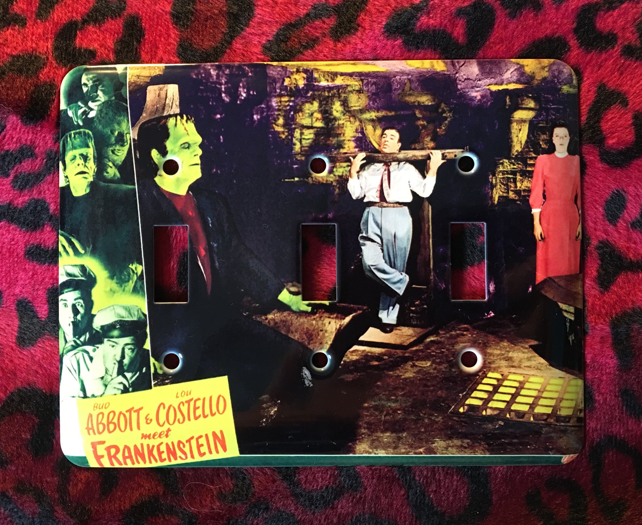 Abbott & Costello Meet Frankenstein Triple Light Switch Cover