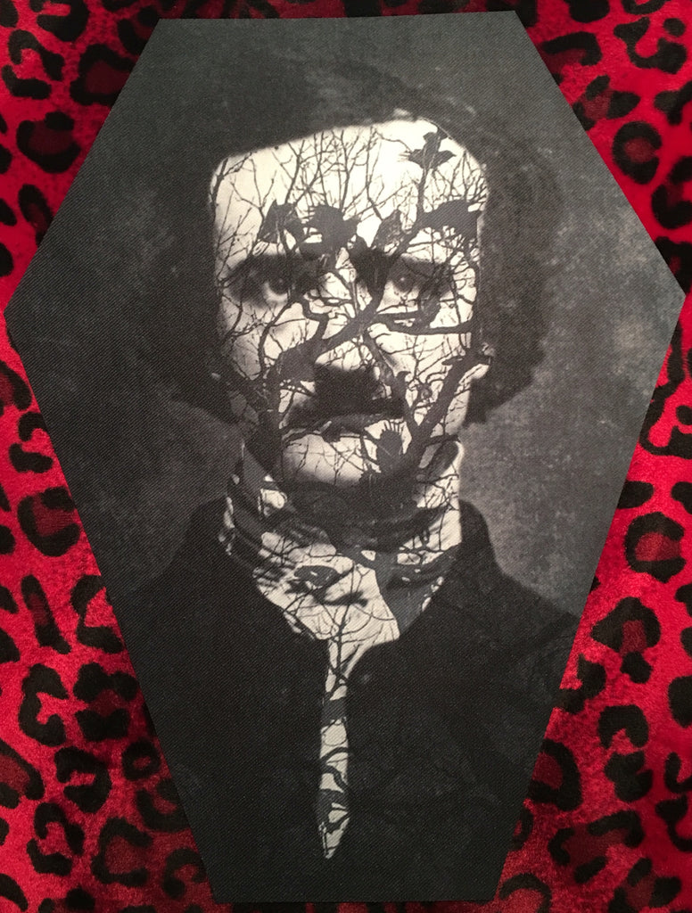 Edgar Allan Poe Coffin Shaped Back Patch