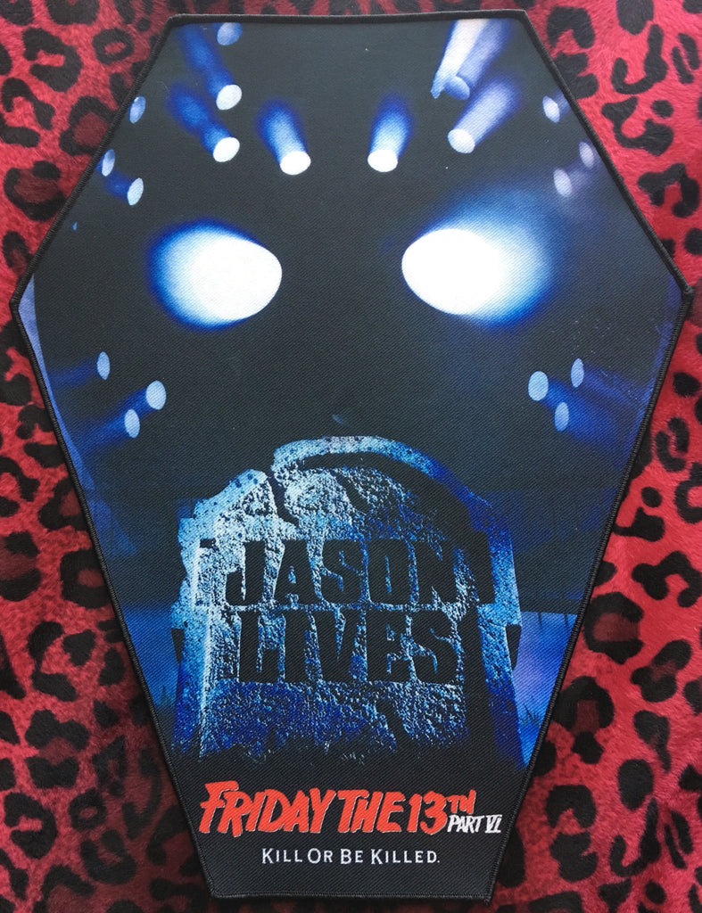 Friday the 13th Jason Lives Coffin Shaped Back Patch