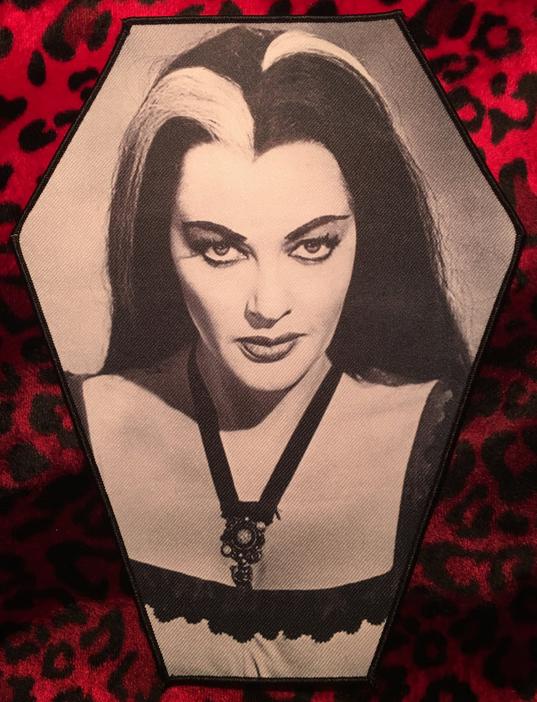 Lily Munster Coffin Shaped Back Patch