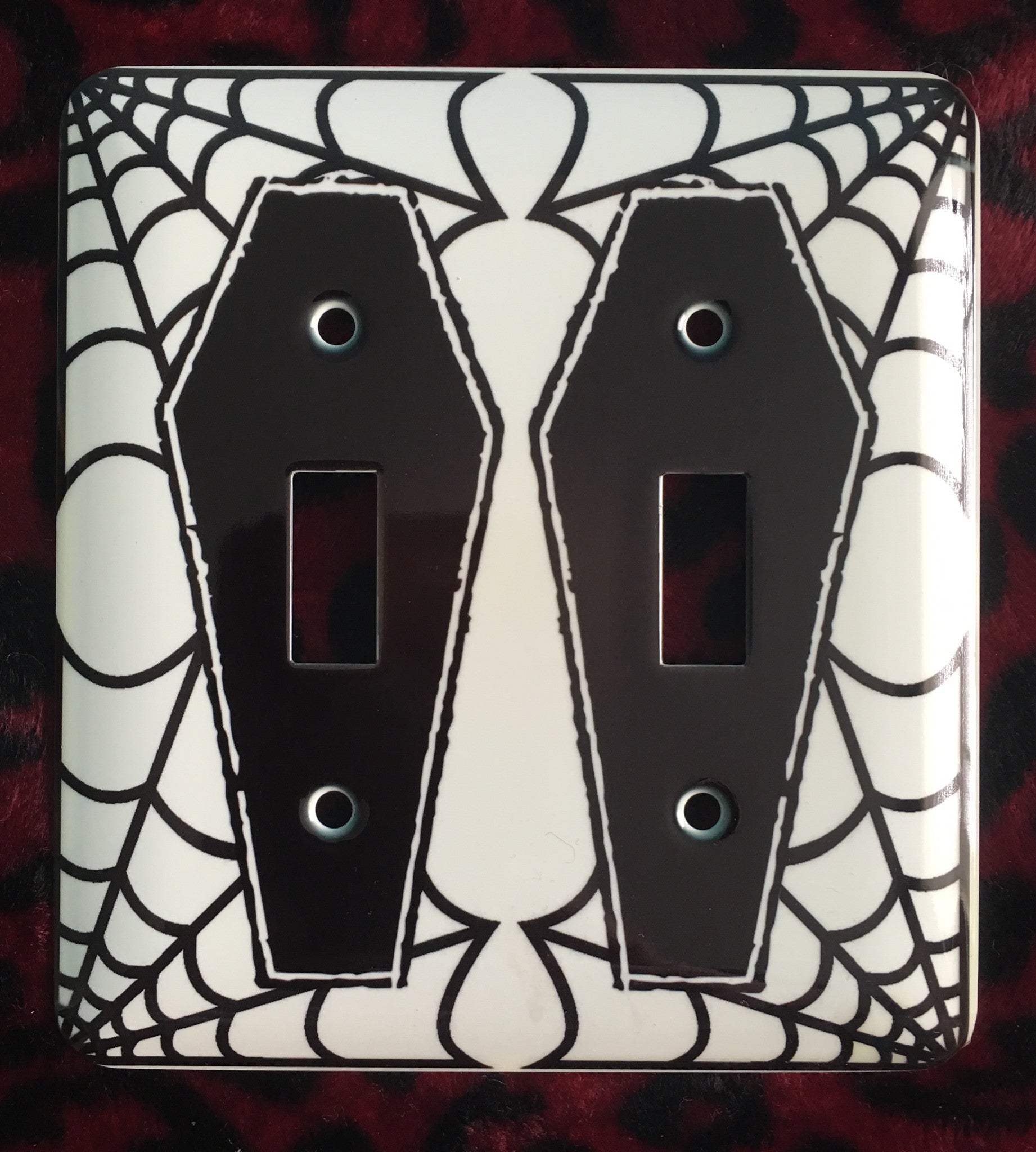 Cobweb Coffin Double Light Switch Cover