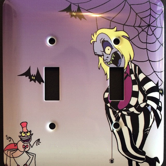 Beetlejuice Cartoon Double Light Switch Cover