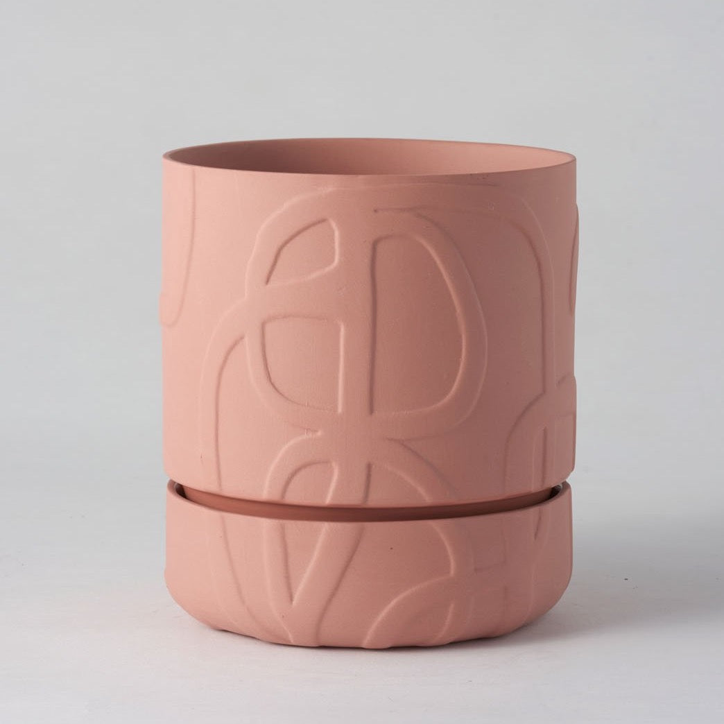 Abstract Relief Plant Pot - Brush line