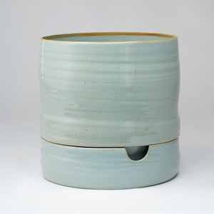 Tall Grey Crackle Ceramic Self Watering Pot