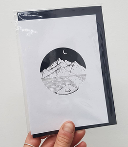 Moonlit Camping Scene Greeting Card