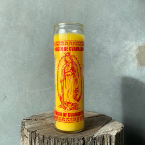 Virgin of Guadalupe Candle - Yellow