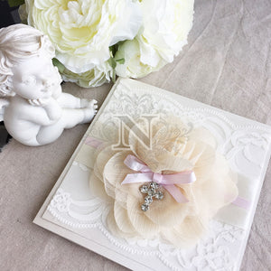 Creams and baby pink lace invitation