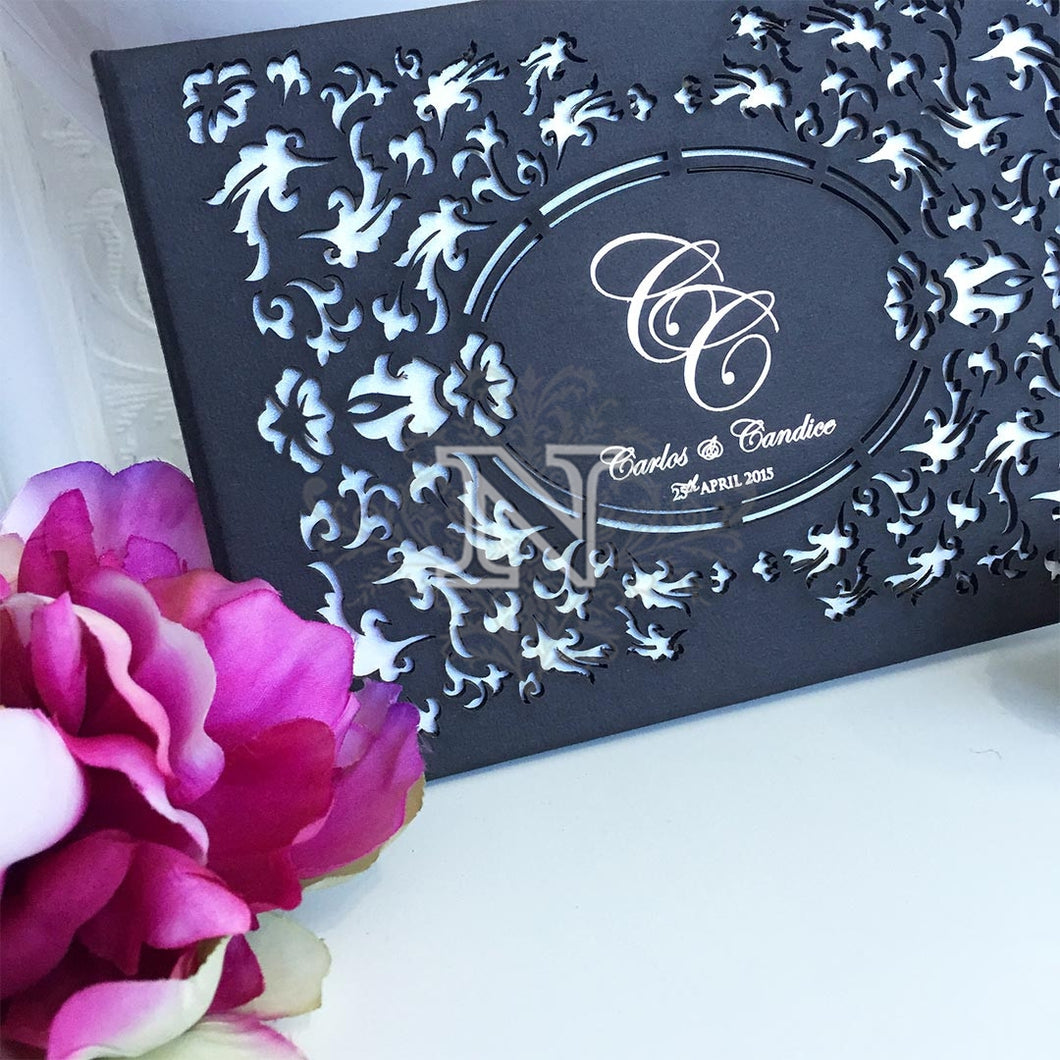 Deluxe Carlos and Candice laser cut hard cover invitation