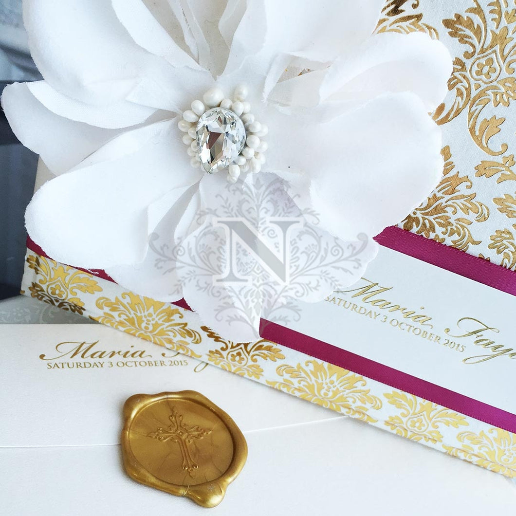 Deluxe Fayad Christening Hard cover Invitation