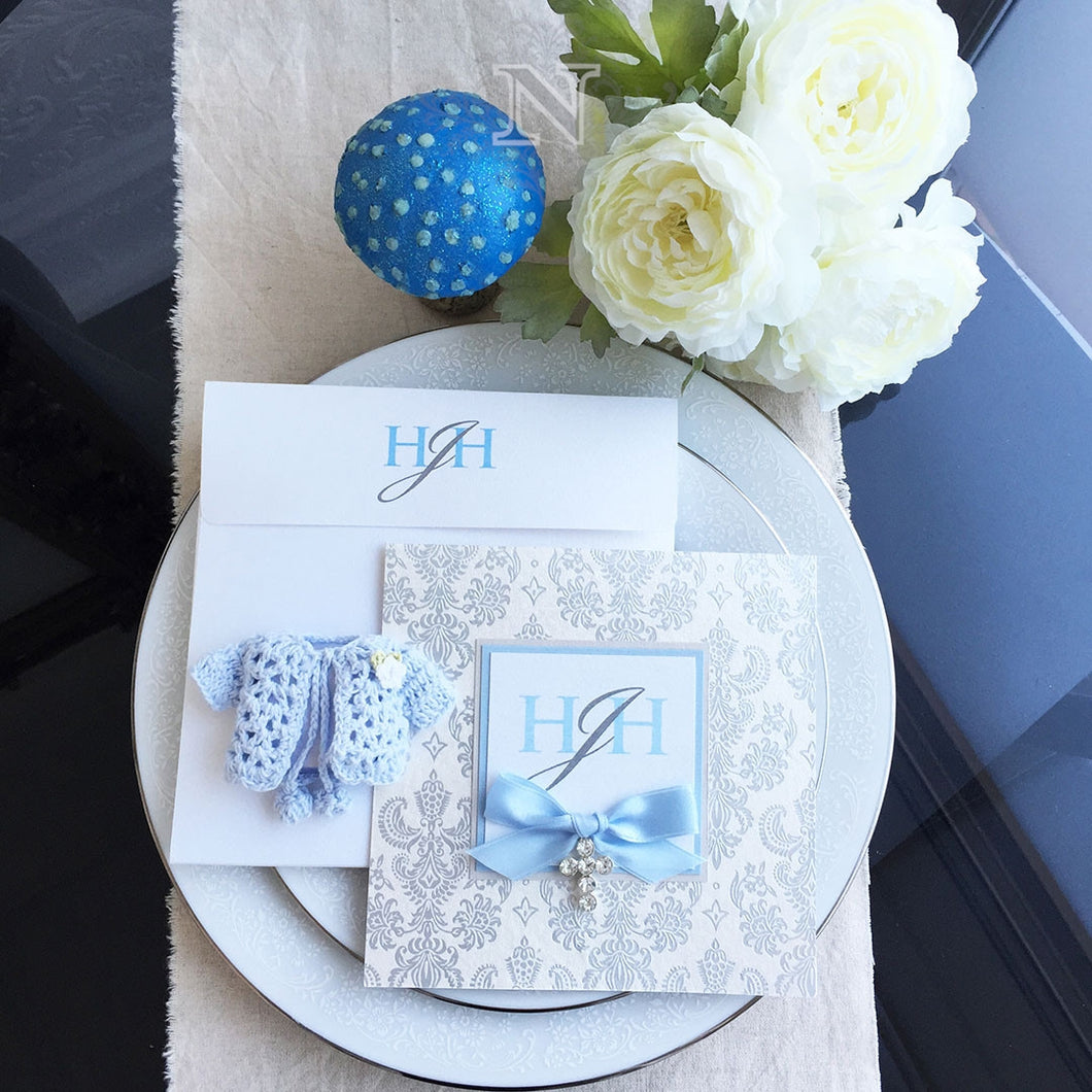 Hugo christening invitation set