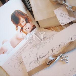 Michael Jr hard cover invitation