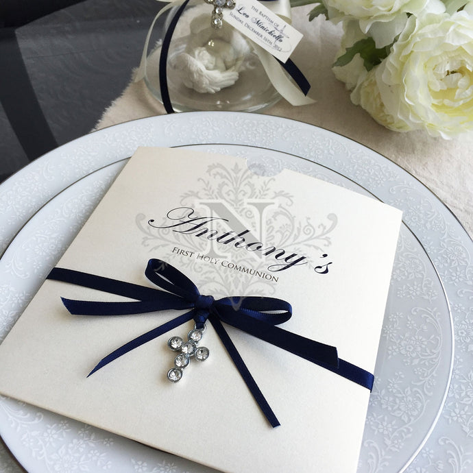 Navy blue anthony invitation