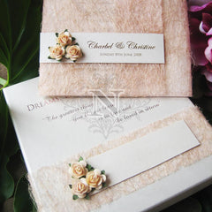Peach mesh invitation