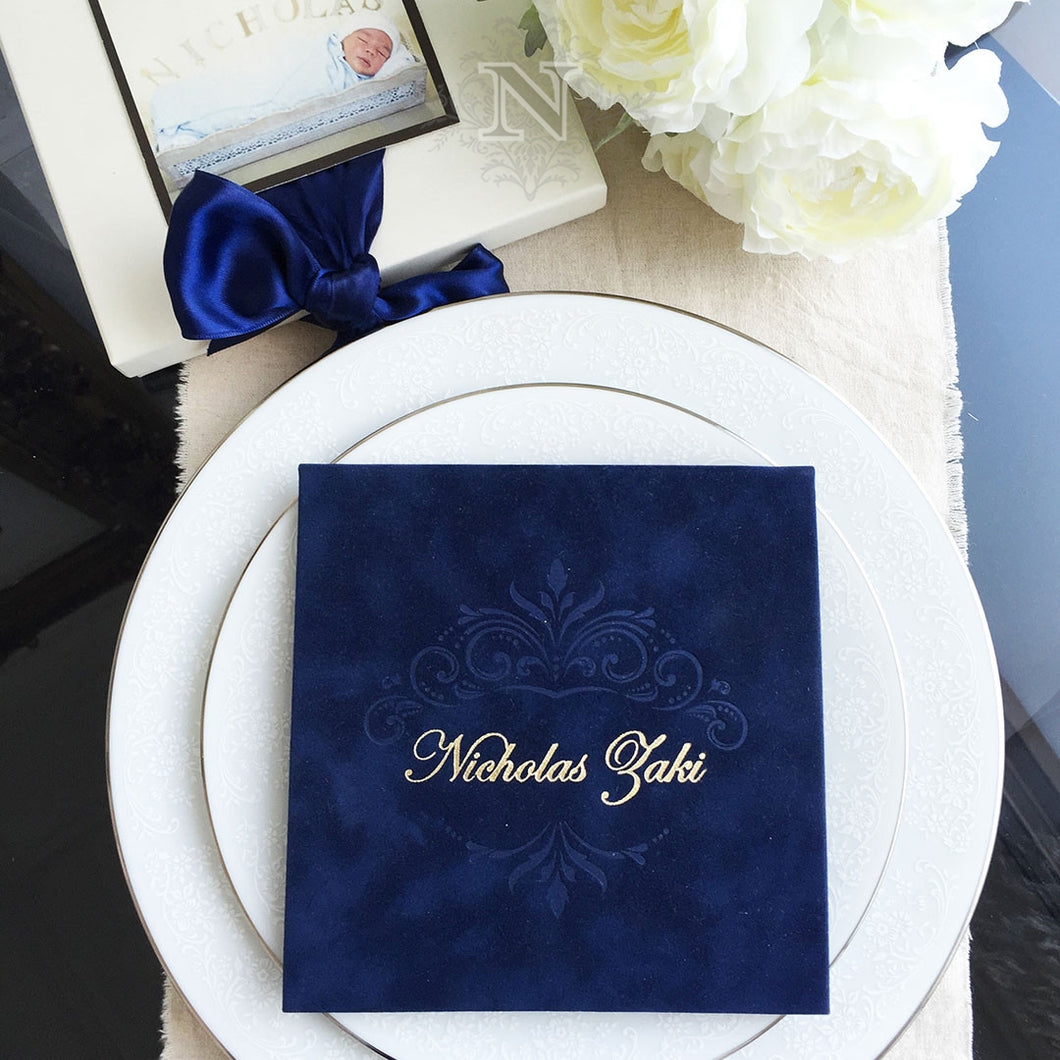 Suede blue invitation and box