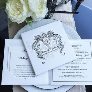 White and black hard cover natalie by design invitation