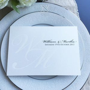 White foil invitation natalie by design