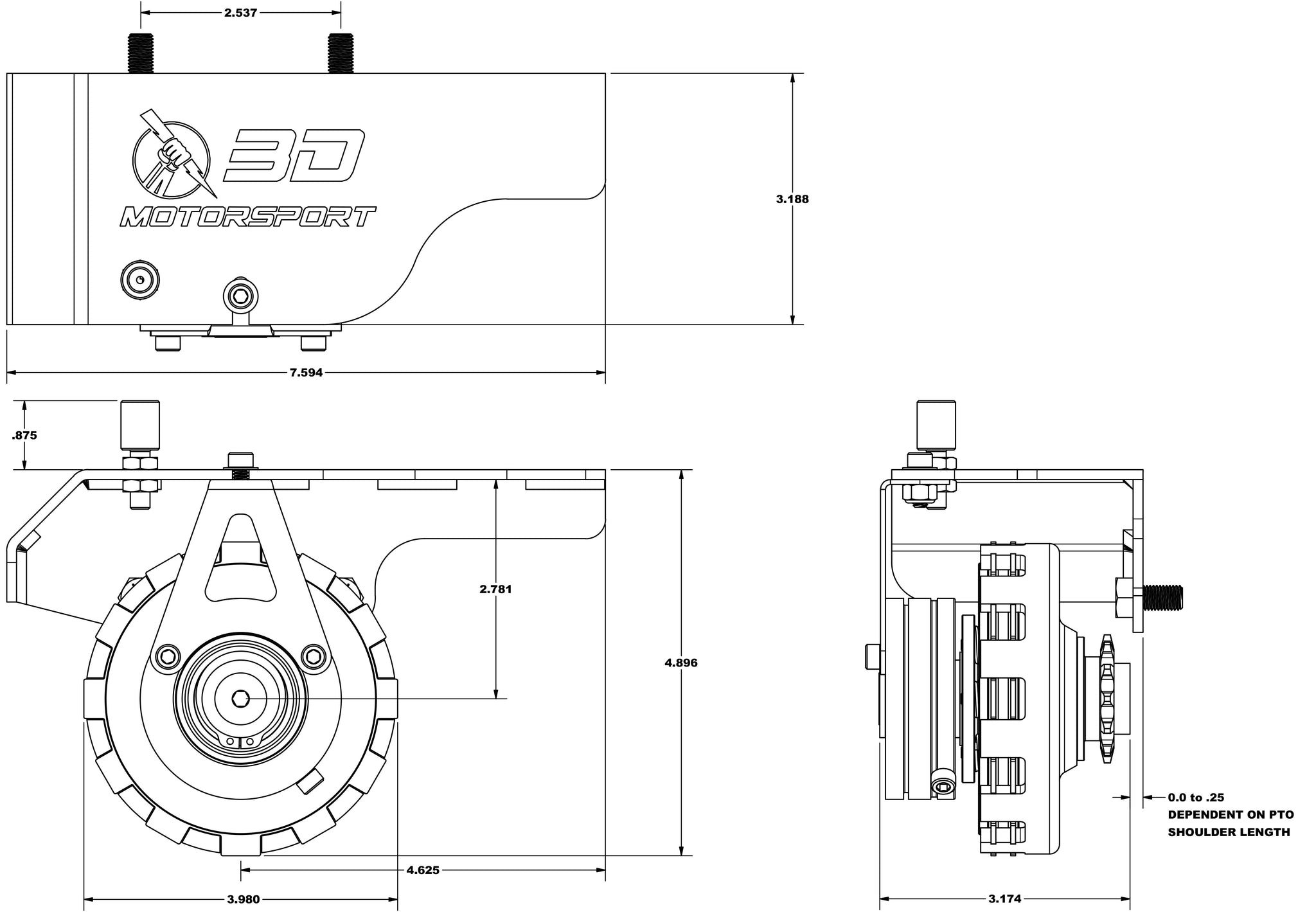 3D manual clutch dimensions