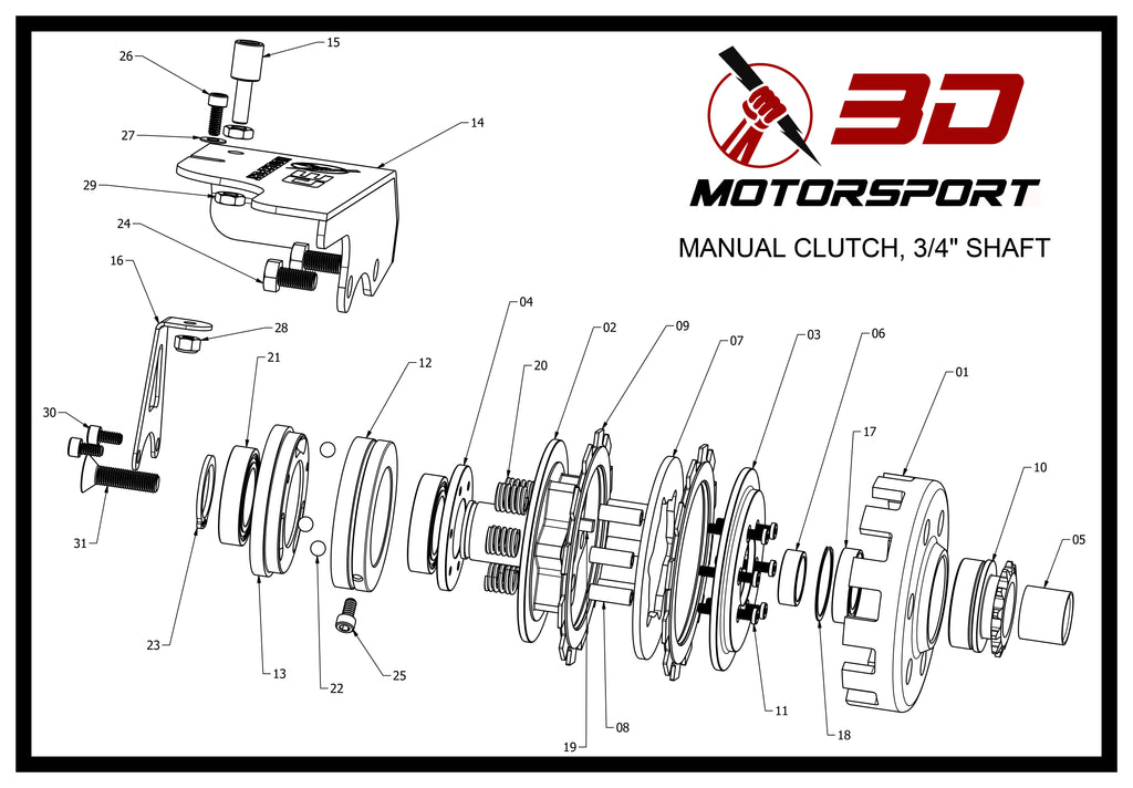 3D Manual Clutch Parts Diagram and Parts List
