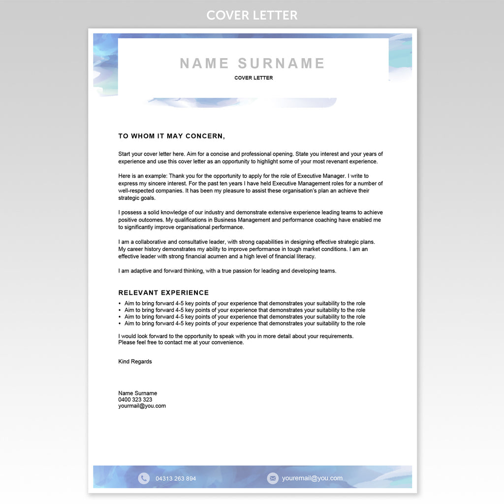 resume templates one today executive resume templates resume and cover letter templates · cover letter resume template blue