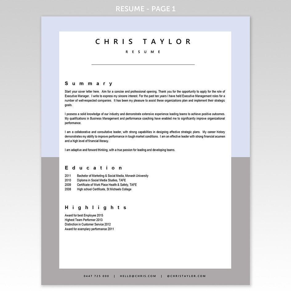 cover letter resume template corporate blue grey executive resume