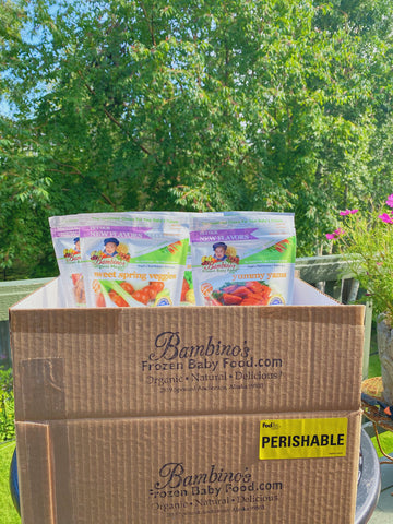 Best baby shower Gift Box organic fresh natural meals for toddler infants baby Bambino's baby food home delivery Sweet Veggies Filet Mignon
