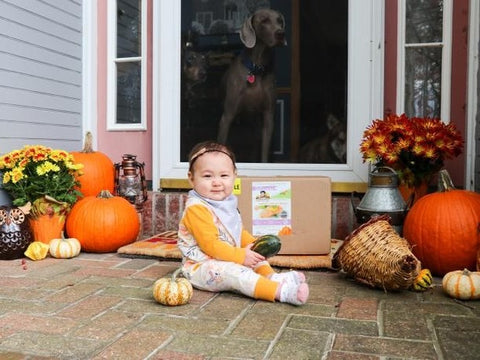 Adorable little baby girl in front of porch with bambinos baby food box That has been delivered to her doorstep