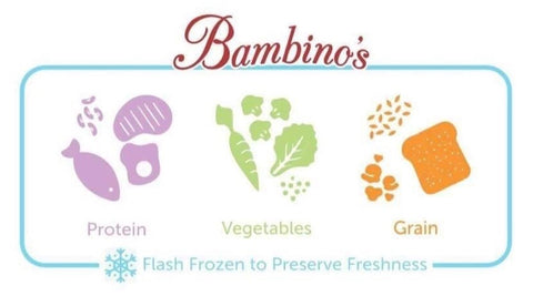 Bambinos Baby Food organic natural  Protein Chicken salmon halibut vegetables grains flash frozen healthy baby toddler food