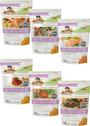 Bambinos Baby Food Frozen Star Shaped Meals - All Protein Variety Pack 6 Packages 24 Meals