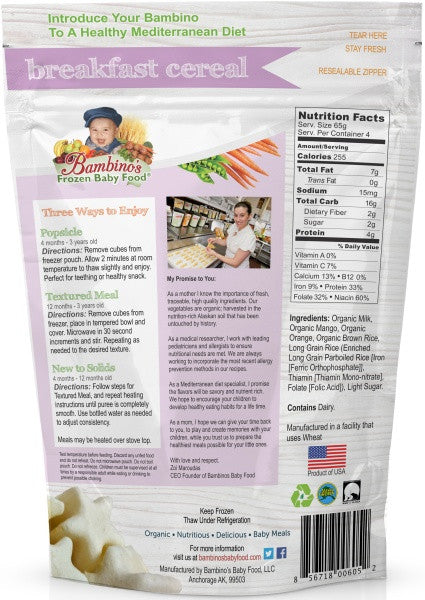 Breakfast Cereal, Bambinos Frozen Baby Food organic made healthy and delicious, 24 meals shipped to your door step nationwide. Best Baby Food, convenient ways to enjoy. Infant loves the flavor and texture