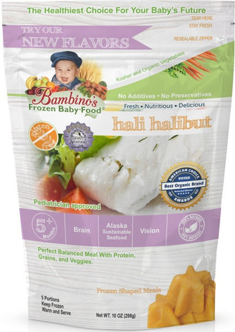 Hali Halibut Best Frozen Baby Food, Bambinos Frozen Baby Food, Great source of Natural Omegas, prefect balanced nutrition for infant development.  24 Meals for $91.50 ships nationally to your door step