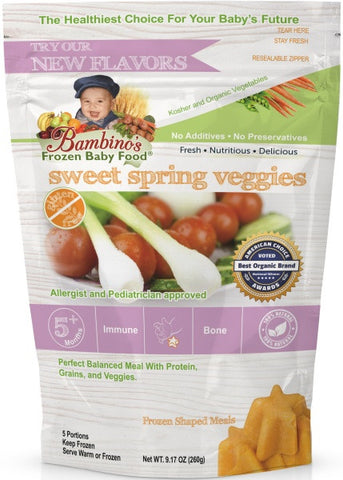 Bambinos Baby Food Frozen Star Shaped Meals - Sweet Spring Veggies best organic alaskan vegetables pure and healthy baby food