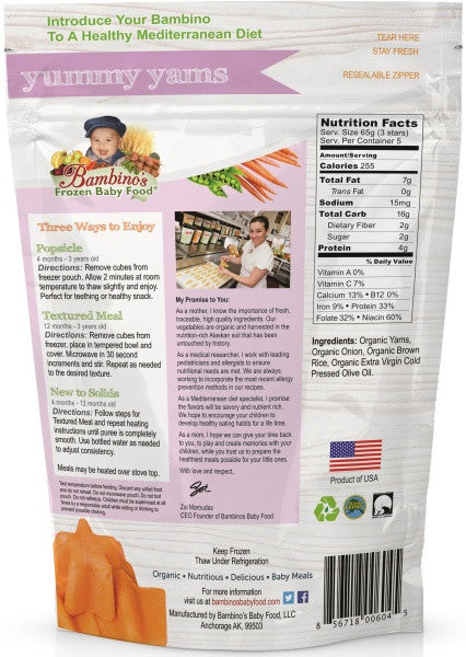 bambinos-frozen-baby-food-yummy-yams-frozen-shaped-meals-back-of-bag Bambinos Baby Food - Star Shaped Meal - Yummy Yams Back of Bag