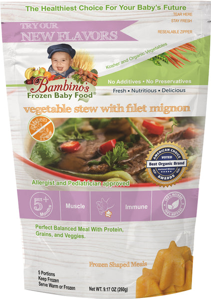 Bambinos Frozen Baby Food - Star Shaped Meals - Vegetable Stew with Fillet Mignon