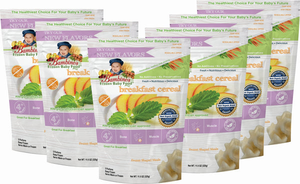 Breakfast Cereal, Bambinos Frozen Baby Food organic made healthy and delicious, 24 meals shipped to your door step nationwide. Best Baby Food six 6 pack what is in the order