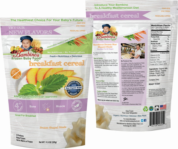 Breakfast Cereal, Bambinos Frozen Baby Food organic made healthy and delicious, 24 meals shipped to your door step nationwide. Best Baby Food front and back of package