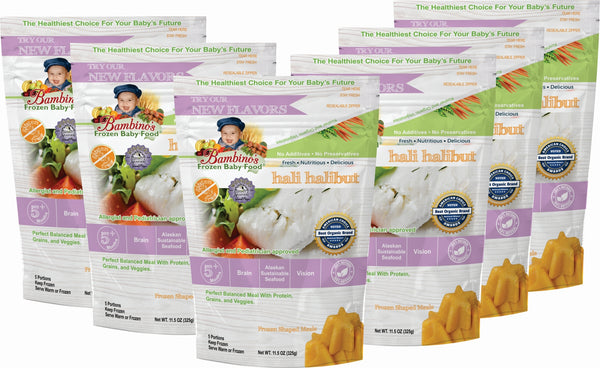 Hali Halibut Best Frozen Baby Food, Bambinos Frozen Baby Food, Great source of Natural Omegas, prefect balanced nutrition for infant development.  24 Meals for $91.50 ships nationally to your door step six pack what is in the order