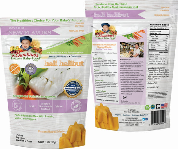 Hali Halibut Best Frozen Baby Food, Bambinos Frozen Baby Food, Great source of Natural Omegas, prefect balanced nutrition for infant development.  24 Meals for $91.50 ships nationally to your door step front and back of package