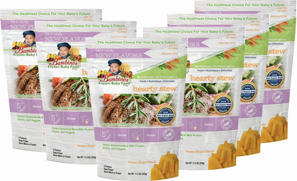 Hearty Stew - Bambinos Frozen Baby Food. Beautiful blend of filet mignon, veggies and grains. Organic all natural Alaskan farmed ingredients dedicated to infant development. Trusted by Allergist, pediatricians and parents. Just like homemade and much more. National natural frozen baby food delivery and subscription service. Best Baby Food. 24 meals for $76.96 six 6 pack what is in the order
