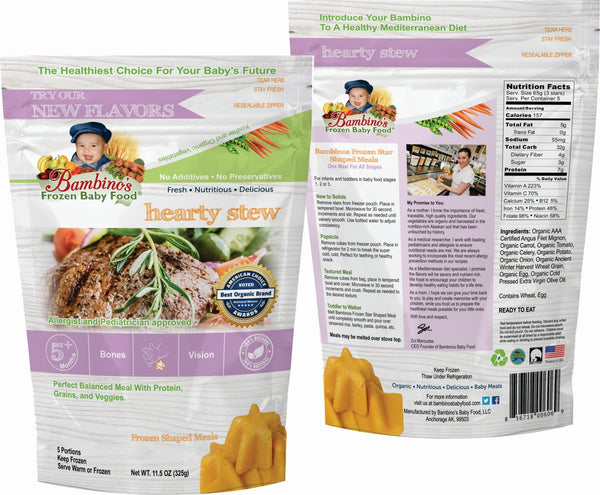 Hearty Stew - Bambinos Frozen Baby Food. Beautiful blend of filet mignon, veggies and grains. Organic all natural Alaskan farmed ingredients dedicated to infant development. Trusted by Allergist, pediatricians and parents. Just like homemade and much more. National natural frozen baby food delivery and subscription service. Best Baby Food. 24 meals for $76.96.  front and back of package