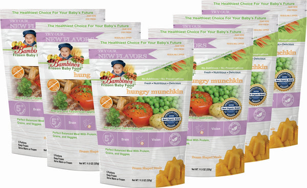 bambinos frozen baby food hungry munchkin frozen shaped meals six 6 pack what is in the order