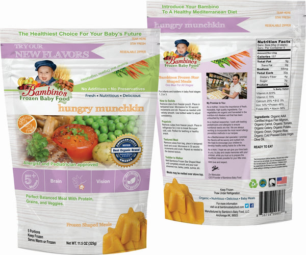bambinos frozen baby food hungry munchkin frozen shaped meals six 6 pack what is in the order front and back of the bag