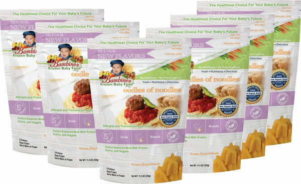 Oodles of Noodles - Organic frozen Non GMO Bambinos Baby Food. Baby food national subscription service. 24 meals great flavor easy to prepare trusted by allergists and pediatricians. Best Organic Baby food and Baby teething popsicles. WWW.BambinosBabyFood.com  six 6 pack what is in the order