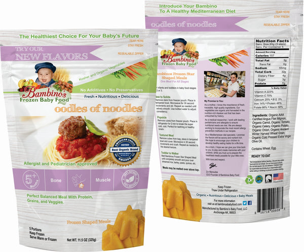 Oodles of Noodles - Organic frozen Non GMO Bambinos Baby Food. Baby food national subscription service. 24 meals great flavor easy to prepare trusted by allergists and pediatricians. Best Organic Baby food and Baby teething popsicles. WWW.BambinosBabyFood.com  front and back of package