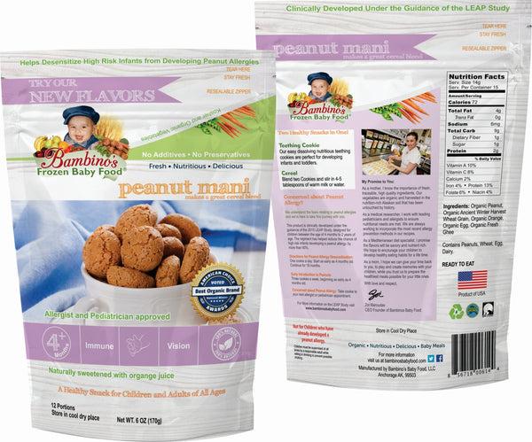 Bambinos Baby Food Frozen Star Shaped Meals - Peanut Mani peanut allergy prevention allergic reaction wean off leap study front and back of study