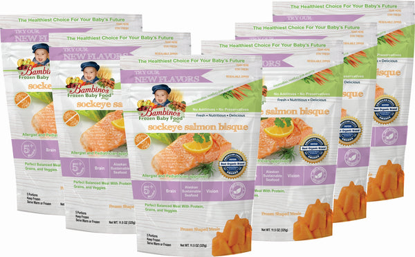 bambinos frozen baby food sockeye salmon bisque frozen shaped meals symphony of seafood grand prize winner alaska alaskan best organic six 6 pack what is in the order