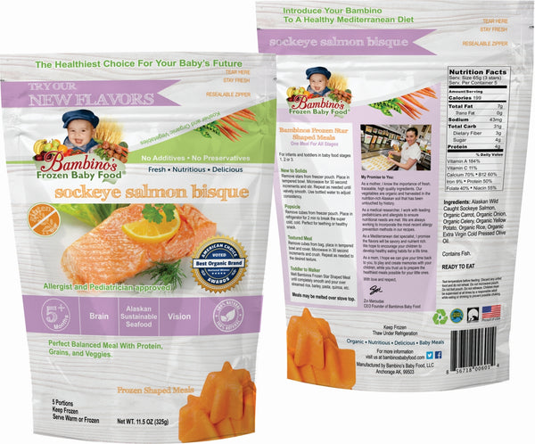 bambinos frozen baby food sockeye salmon bisque frozen shaped meals symphony of seafood grand prize winner alaska alaskan best organic front and back of package