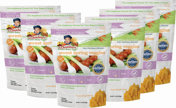 Bambinos Baby Food Frozen Star Shaped Meals - Sweet Spring Veggies best organic alaskan vegetables pure and healthy baby food six 6 pack what is in the package