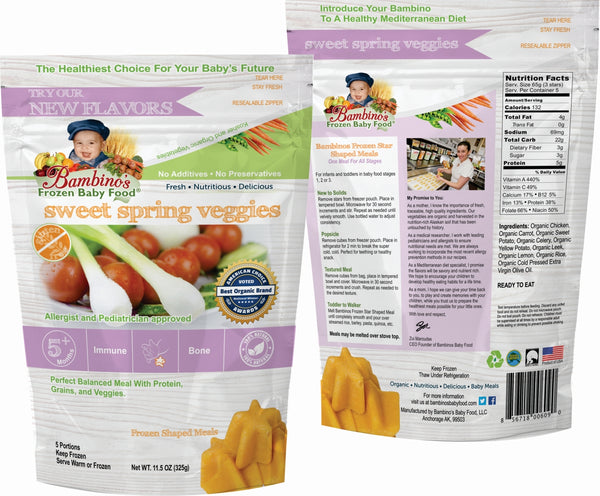 Bambinos Baby Food Frozen Star Shaped Meals - Sweet Spring Veggies best organic alaskan vegetables pure and healthy baby food front and back of package