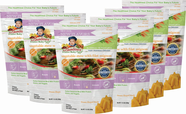Bambinos Frozen Baby Food - Star Shaped Meals - Vegetable Stew with Fillet Mignon six 6 pack what is in the order
