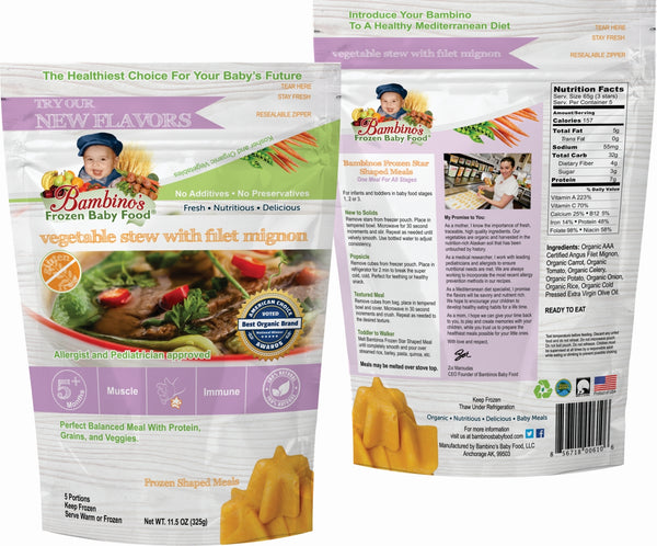Bambinos Frozen Baby Food - Star Shaped Meals - Vegetable Stew with Fillet Mignon front and back of package